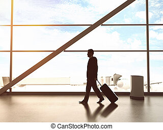 businessman in airport and airplane