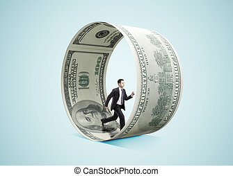 businessman running in money wheel  on blue background