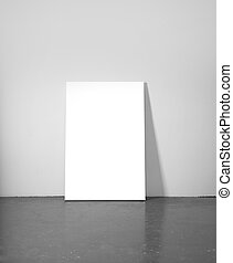 placard - concrete floor and gray wall with placard