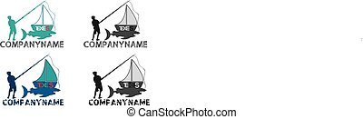 Fishing boat logo logos, vector file easy to edit