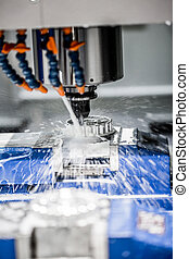 Metalworking CNC milling machine. Cutting metal modern...