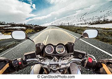 Biker First-person view, mountain serpentine. - Biker rides...