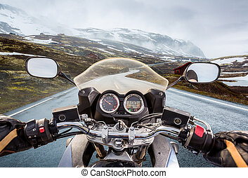 Biker First-person view, mountain pass in Norway - Biker...