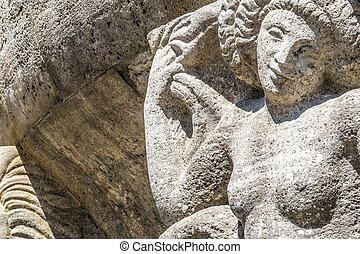 Mythological relief in the Sprudelhof of Bad Nauheim.This...