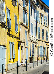 Provence typical city Aix en Provence with old house facade