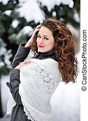 winter girl knitted scarf.