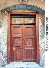 Old door in the city of Lviv