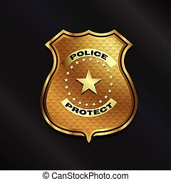 Gold Police Badge isolated on black background