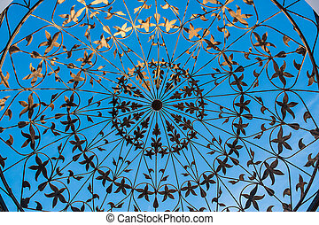 forged metal pattern on the blue background