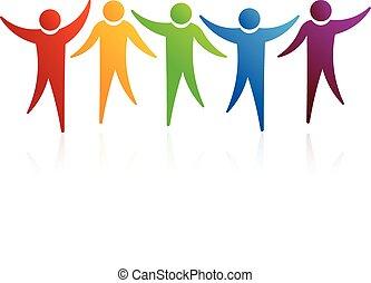 gente, logotipo, juntos,