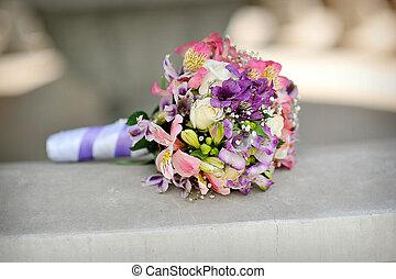 bridal bouquet of purple flowers