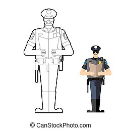 Policeman coloring book. Police officer at work. Vector...