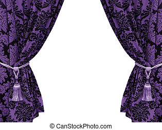 purple curtain isolated on white background