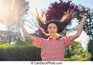 happy young woman on summer holiday