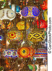 Mosaic Ottoman lamps from Grand Bazaar, Istanbul, Turkey
