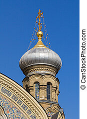Bulbous spire of a catholic church in St. Petersburg