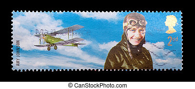 amy johnson - BRITISH - CIRCA 2003: commemorative mail stamp...