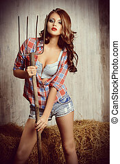 attractive girl - Seductive young woman in jeans shorts and...