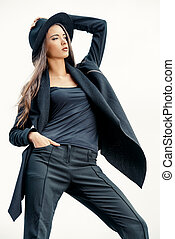 black suit - Fashion lady alluring outdoor Fashion style...