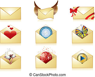 Detailed mail icon set