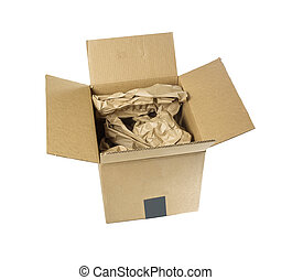 Cardboard box with packing materiel