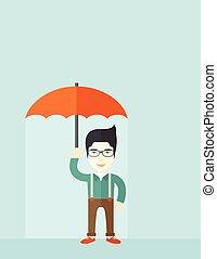 succesvolle, man, met, umbrella.,