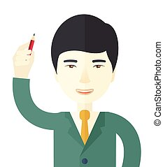 Chinese man holding a pen.