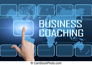 Business Coaching concept with interface and world map on...