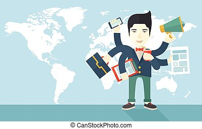 Young but happy japanese employee doing multitasking office...