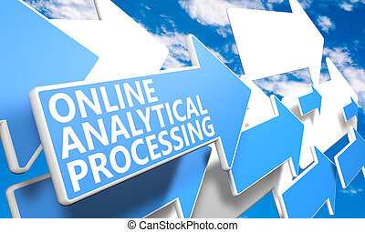 Online Analytical Processing - 3d render concept with blue...