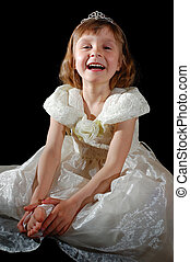 laughing child - portrait of a 5 year old laughing girl