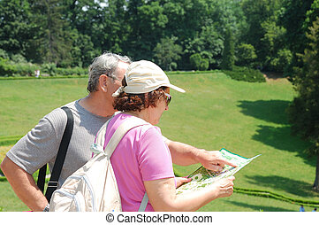senior couple tourists with map