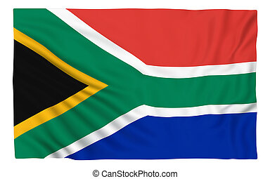 Flag of South Africa , isolated on white