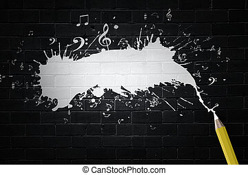 Music and drawing - Music notes and pencil on black...