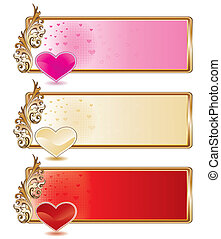 Valentine banner set with shiny hearts, vector illustration