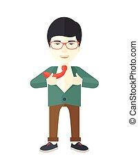 vrolijke, werkende, man, Om te, veranderen, zijn, clothes.,