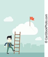 Japanese man with career ladder. - A japanese man standing...