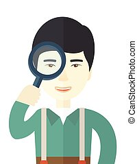 Chinese man with magnifying glass.