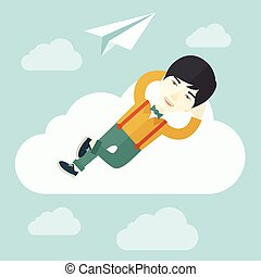 Asian man lying on a cloud with paper plane. - An asian man...