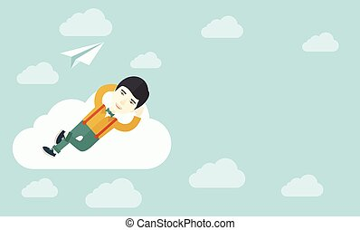 Asian man lying on a cloud with paper plane - An asian man...
