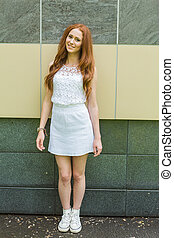 Portrait of red hair girl. - Portrait of young modern girl...