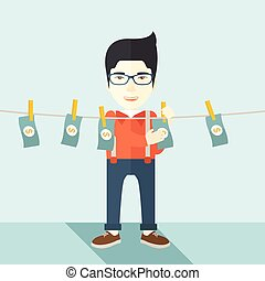 Chinese buisnessman hang his money - A chinese businessman...