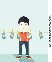 Chinese buisnessman hang his money. - A chinese businessman...