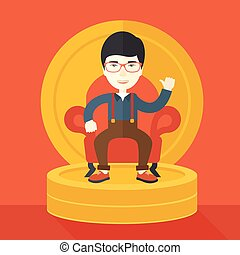 Successful japanese businessman smiling while sitting - A...