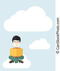 Chinese guy reading a book - A chinese guy sitting on a...