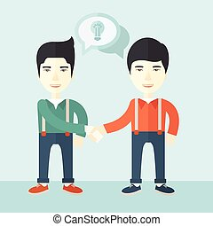 Two asian guys happily handshaking. - A two asian guys...