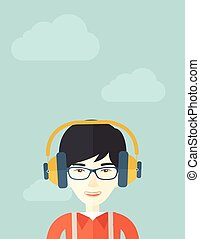 Chinese young guy with headphone.