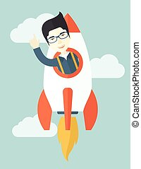 Asian young guy inside the rocket. - A Young asian guy...