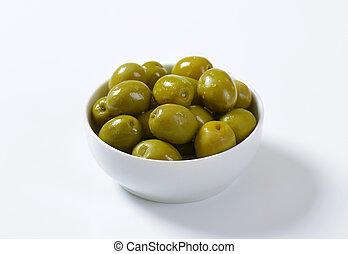 Brine-cured green olives - Bowl of brine cured green olives