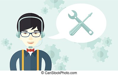 Japanese operator with headset as customer service
